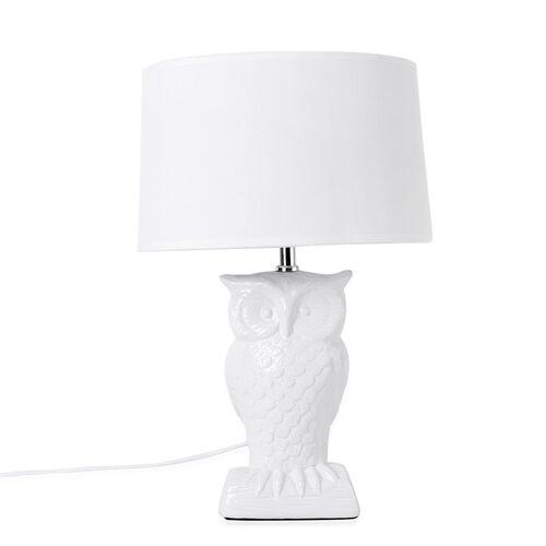 Home Decor - Ceramic White Colour Owl Shape Table Lamp (Size 43x26x13.5 Cm)