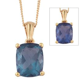 Colour Change Fluorite (Cush) Solitaire Pendant With Chain in 14K Gold Overlay Sterling Silver 3.500 Ct.