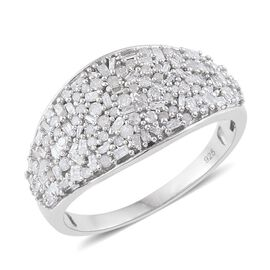 Designer Inspired-Fireworks Diamond Cluster Ring in Platinum Overlay Sterling Silver Ring. Total Dia Wt 1.00 Cts