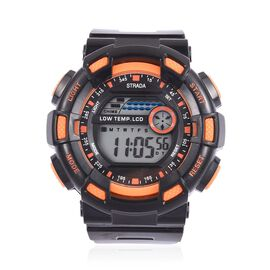 STRADA Electronic Movement 7 Colour Flashing LED Watch in Orange Colour and Silver Tone with Stainless Steel Back and Black Silicone Strap