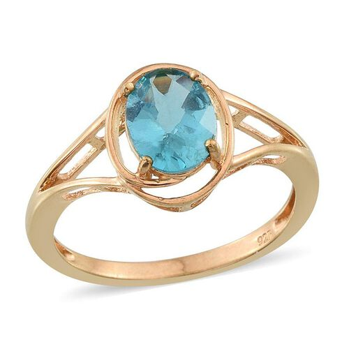 Paraibe Apatite (Ovl) Solitaire Ring in 14K Gold Overlay Sterling Silver 1.750 Ct.