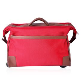 Water Resistant Red Travel Trolley With Wheels and Adjustable Handle (Size 50x35x25 Cm)