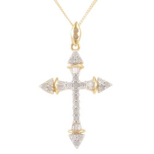 Diamond (Rnd) Cross Pendant With Chain in 14K Gold Overlay Sterling Silver 0.500 Ct.