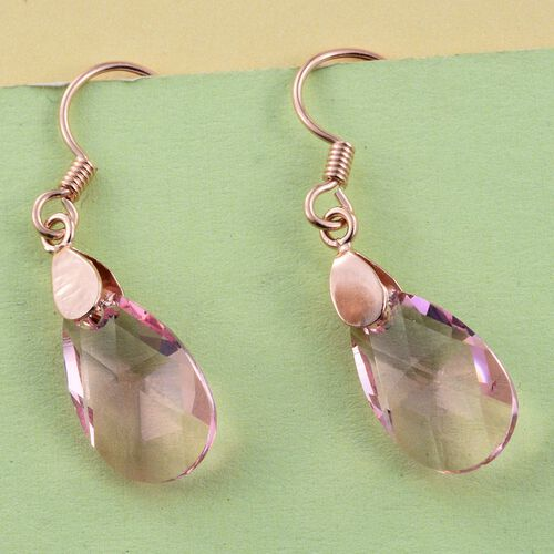 J Francis Crystal from Swarovski - Light Rose Crystal (Pear) Hook Earrings in Rose Gold Overlay Sterling Silver
