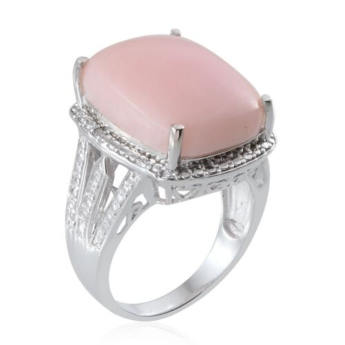Peruvian Pink Opal (Cush 10.00 Ct), Diamond Ring in Platinum Overlay Sterling Silver 10.010 Ct.