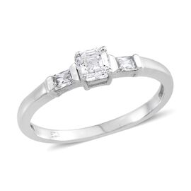 J Francis - Platinum Overlay Sterling Silver (Asscher Cut) Ring Made with SWAROVSKI ZIRCONIA 0.660 Ct.