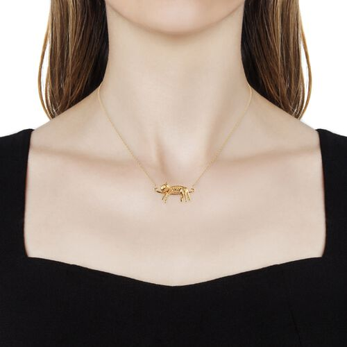 14K Gold Overlay Sterling Silver Cat Necklace (Size 18), Silver wt 5.90 Gms.