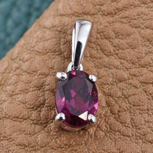 Rare Mozambique Grape Colour Garnet (Ovl) Solitaire Pendant in Platinum Overlay Sterling Silver 1.000 Ct.