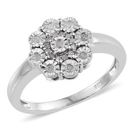 Diamond (Rnd) Floral Ring in Platinum Overlay Sterling Silver 0.250 Ct.