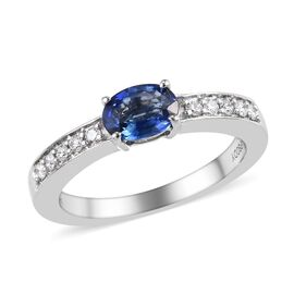 RHAPSODY 950 Platinum 0.75 Carat AAAA Rare Ceylon Blue Sapphire Ring With Diamond VS/E-F