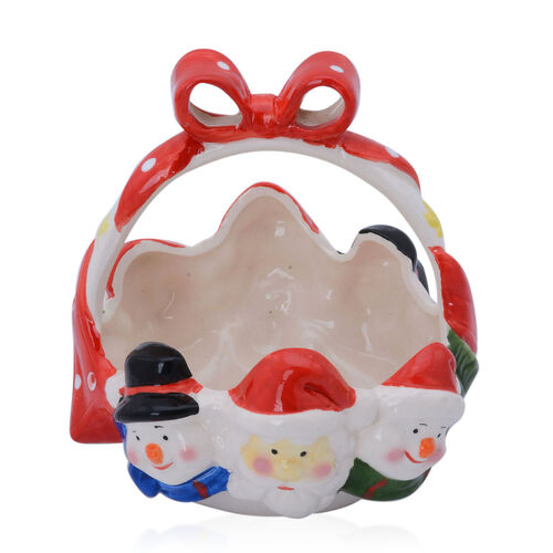 Multi Colour Ceramic Basket with Santa and Two Snowmen