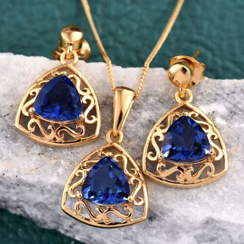 Ceylon Colour Quartz (Trl) Solitaire Pendant With Chain and Earrings (with Push Back) in 14K Gold Overlay Sterling Silver 6.000 Ct.
