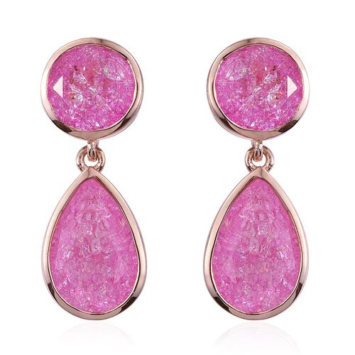 Hot Pink Crackled Quartz (Pear) Earrings (with Push Back) in Rose Gold Overlay Sterling Silver 9.250 Ct.