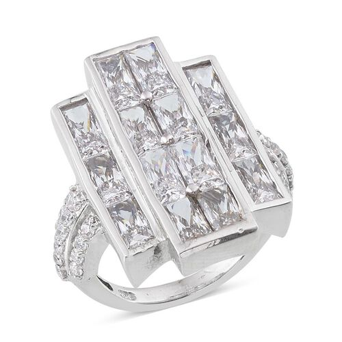 J Francis - Platinum Overlay Sterling Silver (Bgt) Ring Made with SWAROVSKI ZIRCONIA 5.320 Ct.
