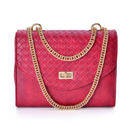 Diamond Pattern Lipstick Red Colour Handbag with Chain Strap (Size 22.5x17x8.5 Cm)