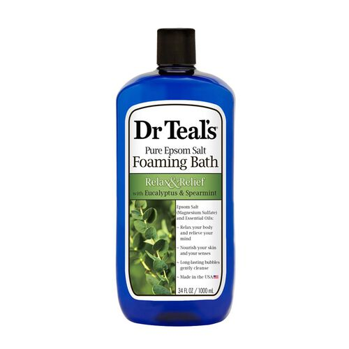 Dr Teals Pure Epsom Salt Foaming Bath Relax and Relief with Eucalyptus and Spearmint  1 L