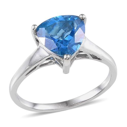 Signity Kashmir Blue Topaz (Trl) Solitaire Ring in Platinum Overlay Sterling Silver 3.250 Ct.