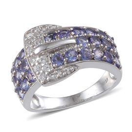 Tanzanite (Rnd), White Topaz Buckle Ring in Platinum Overlay Sterling Silver 2.750 Ct.