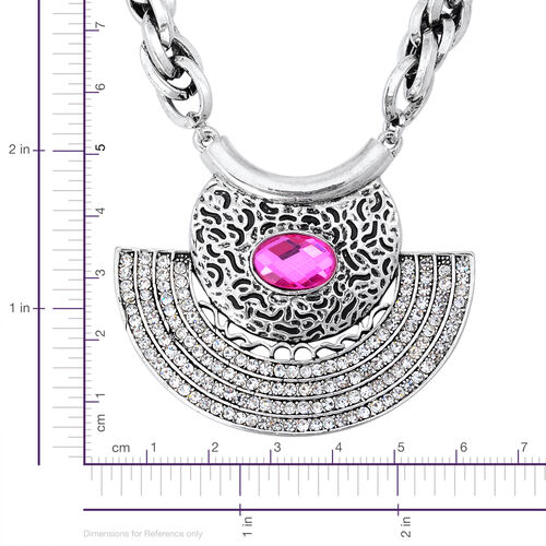 Simulated Pink Sapphire, White Austrian Crystal Necklace (Size 18 with Extender) in Black Tone