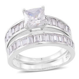 ELANZA AAA Simulated White Diamond (Sqr) 2 Ring Set in Rhodium Plated Sterling Silver