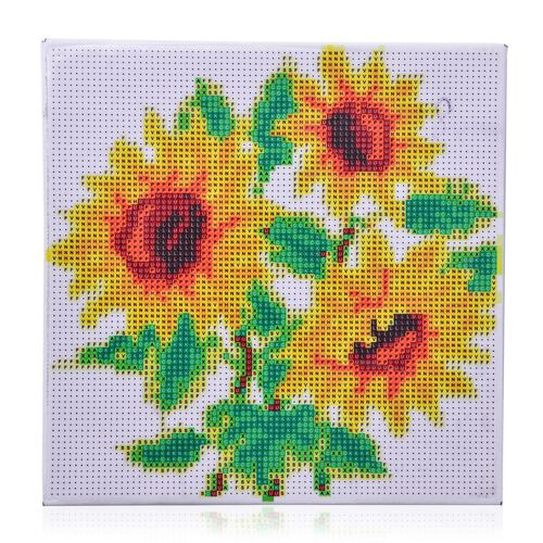 Home Decor - Sun Flower Pattern Painting Kit with Multi Colour Crystals (Size 24X24 Cm)