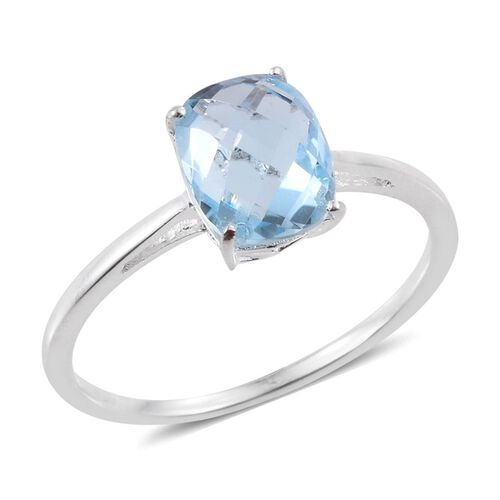 Sky Blue Topaz (Cush) Solitaire Ring in Sterling Silver 2.750 Ct.