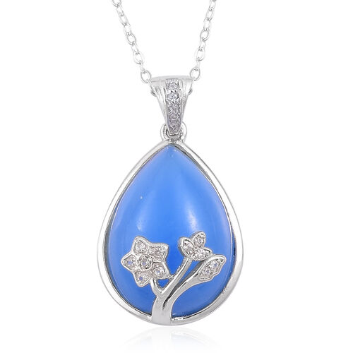 Blue Jade (Pear), White Zircon Pendant With Chain in Rhodium and Platinum Overlay Sterling Silver 12.340 Ct.