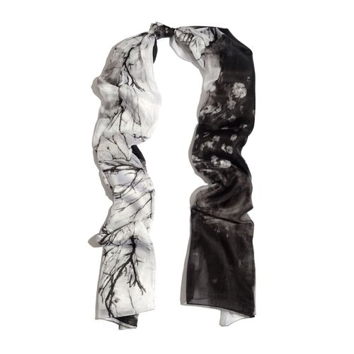 100% Mulberry Silk Black and White Colour Printed Scarf (Size 180x100 Cm)