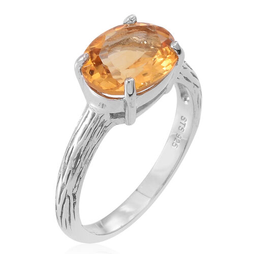 Citrine (Ovl) Solitaire Ring in Rhodium Plated Sterling Silver 3.500 Ct.