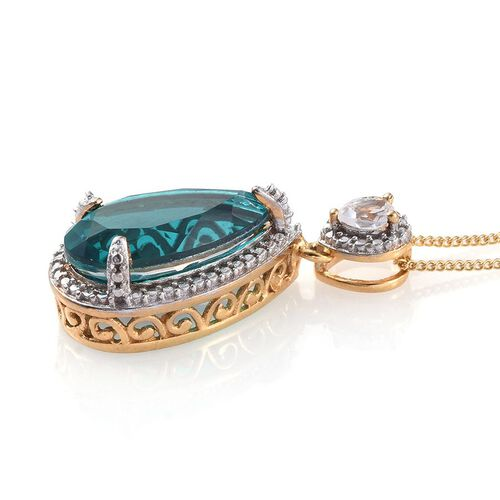 Capri Blue Quartz (Pear 4.75 Ct), White Topaz Pendant in 14K Gold Overlay Sterling Silver 5.000 Ct.