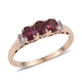 9K Y Gold Rubelite (Ovl), Diamond Ring 1.150 Ct.