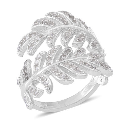 ELANZA AAA Simulated Diamond (Rnd) Leaves Ring in Rhodium Plated Sterling Silver