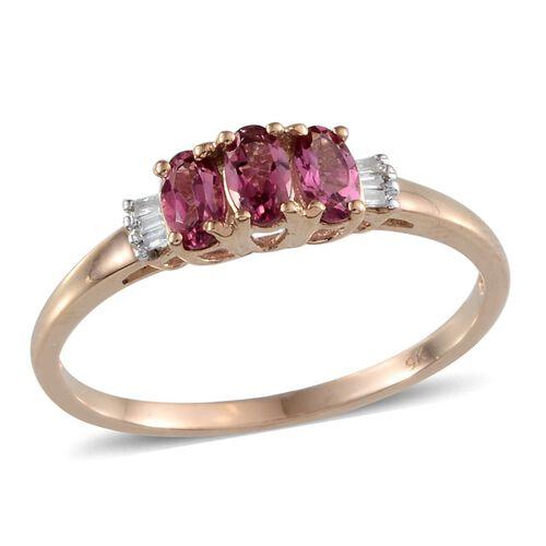 9K Y Gold Pink Tourmaline (Ovl), Diamond Ring 0.800 Ct.