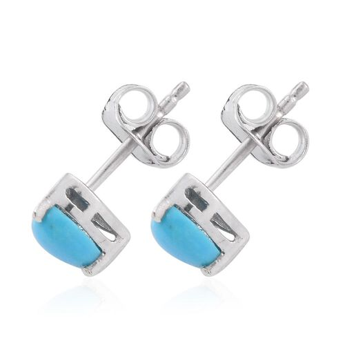 Arizona Sleeping Beauty Turquoise (Hrt) Stud Earrings (with Push Back) in Platinum Overlay Sterling Silver 1.000 Ct.