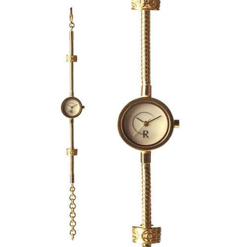 RACHEL GALLEY White Mother of Pearl Japanese Movement  1 Micron Gold Plating Snake Bracelet Timepiece in Swarovski Crystal