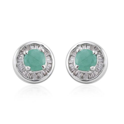 Brazilian Emerald (Rnd), Diamond Stud Earrings (with Push Back) in Platinum Overlay Sterling Silver 1.000 Ct. Diamond Wt 0.25 cts.