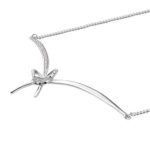 Kimberley Butterfly Collection - Natural Cambodian Zircon (Rnd) Butterfly Necklace (Size 18) in Platinum Overlay Sterling Silver