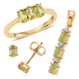 Hebei Peridot 1.39 Carat Trilogy Ring, Pendant and Stud Earrings (with Push Back) Silver Set in 14K Gold Overlay