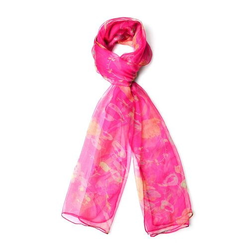 100% Mulberry Silk Rose Red, Yellow and Green Colour Floral Pattern Scarf (Size 180X50 Cm)