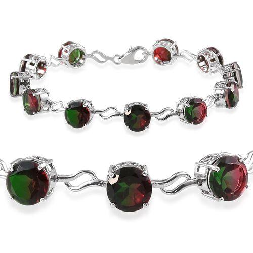 Tourmaline Colour Quartz (Rnd) Bracelet in Platinum Overlay Sterling Silver (Size 7.5) 22.000 Ct.
