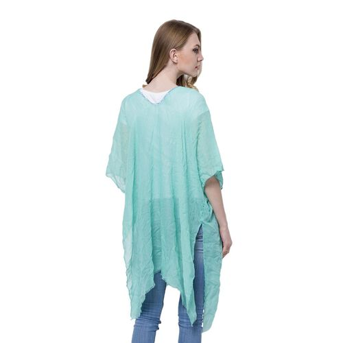 Blue and Yellow Colour Small 3D Floral Pattern Sea Green Colour Poncho (Size 90x90 Cm)