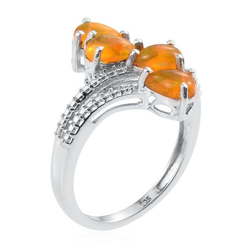 Orange Ethiopian Opal (Pear) Crossover Ring in Platinum Overlay Sterling Silver 1.000 Ct.