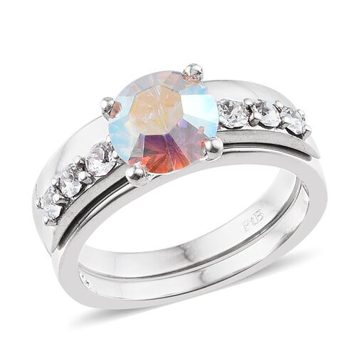 Set of 4 - Crystal from Swarovski - Topaz Colour Crystal, AB Crystal, Light Siam Crystal and White Crystal Ring in ION Plated Platinum Bond 6.000 Ct.