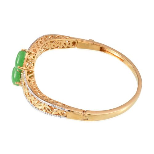 Green Jade (Cush) Bangle (Size 7.5) in 14K Gold Overlay Sterling Silver 8.400 Ct.