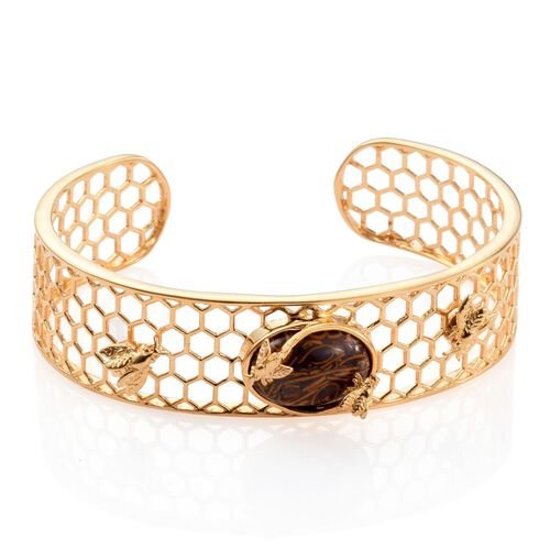 Limited Available-Rare Natural Honey Jasper (Ovl) Cuff Bangle (Size 7.5) in ION Plated 18K Yellow Gold Bond 9.750 Ct.