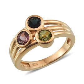 Rainbow Tourmaline (Rnd) Trilogy Ring in 14K Gold Overlay Sterling Silver 1.500 Ct.