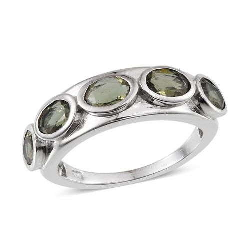 Bohemian Moldavite (Ovl) 5 Stone Ring in Platinum Overlay Sterling Silver 1.750 Ct.