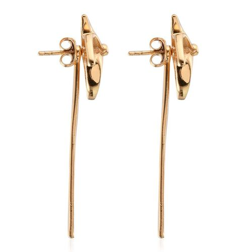 14K Gold Overlay Sterling Silver Origami Pinwheel Earrings (with Push Back), Silver wt  5.05 Gms.