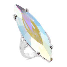 J Francis Crystal from Swarovski - AB Crystal (Mrq) Ring  in ION Plated Platinum Bond