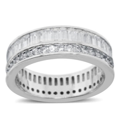 AAA Simulated Diamond (Bgt) Band Ring in Rhodium Plated Sterling Silver